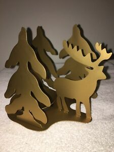 Christmas Trees with Reindeer Gold Iron Ball Candle Holder/ NIB/C My Description