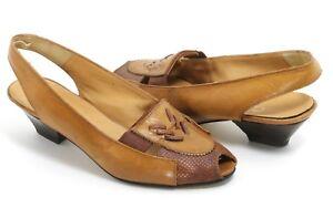 Elegant Vintage Pumps Damenschuhe Leder Slingback Peeptoes Speed Way Zapatos 37