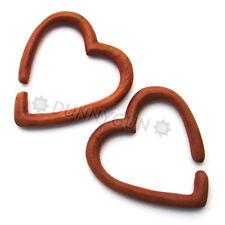 2G Pair Red Saba Wood Breaking Heart Rings Gauged Plugs 2 gauge Piercing