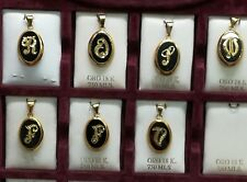 Colgante LETRA Oro 18 quilates y ONIX . Disponibles = F. N.O.R.S.V. 22 x 15 mm.