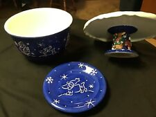 Winter Friends Collection By St. Nicholas Square Cake Plate. & Bowl & Plate