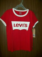 NEW GIRL'S RED LEVI'S SHORT SLEEVE T-SHIRT SIZE SMALL
