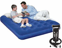 INFLATABLE DOUBLE FLOCKED AIR BED CAMPING RELAXING AIRBED MATTRESS + HANDPUMP