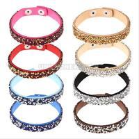 Fashion Leather Wrap Wristband Cuff Punk Crystal Rhinestone Bracelet Bangle GIFT