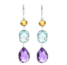 14K White Gold Gemstone Earrings With Citrine, Blue Topaz And Amethyst