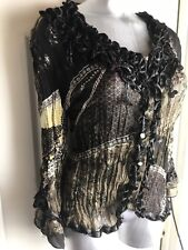 Dressbarn Button Down Shirt- SIZE L LARGE- BROWN Ruffled Crinkle Sequins Beaded