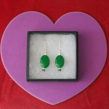 Beautiful Earrings With Emerald And Crystal 3.5 Cm.Long +925 Silver Hooks In Box