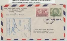 AUSTRALIA 1947 SYDNEY TO SAN FRANCISCO FLIGHT COVER FAM F19-35 SCARCE BLUE CACHE