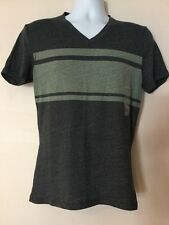 CONVERSE One Star Mens Gray Striped V-Neck Short Sleeve Shirt SMALL