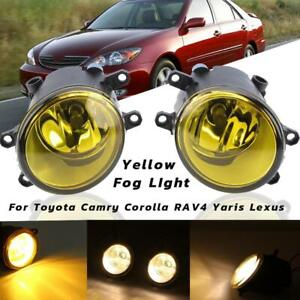 Pair LED Fog light Yellow 110W For Toyota Camry Corolla RAV4 Yaris Lexus 2006-13