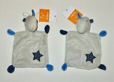 2 x Pusblu DM Nashorn Stern grau blau Schmusetuch Schnuffeltuch Kuscheltuch NEU