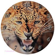 Wanduhr Bilderuhr Uhr Deko - Leopard Leo Afrika Wildlife