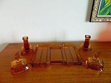 Gorgeous  Art Deco Vanity/ Dressing Table Set  Amber Colour 5 Pce Czech