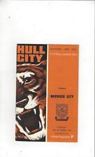 Hull City v Norwich City 1968/69 Football Programme