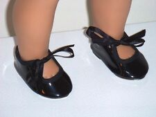 "Black Patent Tap Dance Shoes Metal Bottoms Fits 18"" American Girl Doll Clothes"