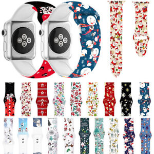 Christmas Silicone Sport Band Wrist Strap For Apple Watch Series 6 5 4 3 38/42mm