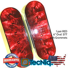 """(2) Trailer Truck LED Lights RED 6"""" Oval Stop/Turn/Tail WATERPROOF TecNiq USA"""