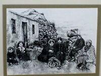 Ink & Pencil Artwork - St. Kilda Islanders Portrait VINTAGE Photo Scotland 1880