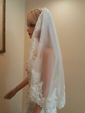 Bridal Light Ivory Lace Elbow Length Veil with Metal Comb 622-2