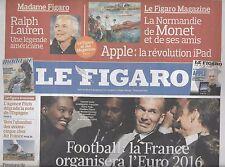 LE FIGARO N°20473 29 MAI 2010  EURO 2016/ RENAULT/ TINTIN&HERGE/ OKINAWA