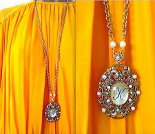 Topshop Hermoso Antiguo Camafeo Oval De Metal Tono Oro Letra K Colgante Collar