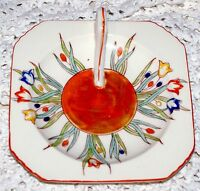 Vintage Ceramic Candle Holder With Handle & Sun/Floral Designs • Made In Japan