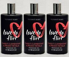 3 Victoria's Secret LOVE TO FLIRT Clementine Peony Body Massage Oil 3.4 oz Glass