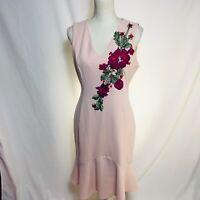 Ivanka trump size 8 pink floral embroidered sleeveless ruffle Hem Sheath dress