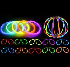 "100 x 8"" Glow Sticks for Bracelet,Necklace Party Favours Rave Disco Neon Colours"