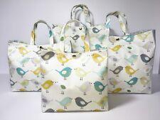 Handmade,100% Oilcloth Cotton Bags, 'Scandi Birds' Multi & Duck-Egg in Matt