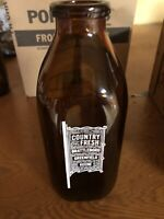 Vintage Country Fresh Milk Bottle Brown Glass 1 Qt Brattleboro Keene Greenfield