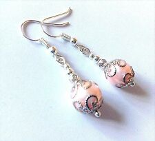 ~ PASTEL PINK GLASS PEARL BEAD VINTAGE DESIGN DANGLE EARRINGS ~ 925 SILVER WIRE