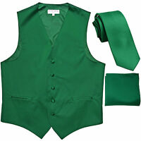 """New Men's emerald green formal vest Tuxedo Waistcoat_2.5"""" necktie & hankie set"""