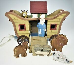 Painted Wood Noah's Ark Animals Pull Toy Room Figurine Bible Story