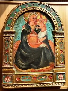Carved Wood Mother & Child Art Icon Barcelona Spain Gold Leaf Religious Painting