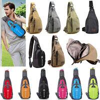 Mens Canvas Bike Travel Hiking Messenger Shoulder Sling Cross Body Chest Bag New