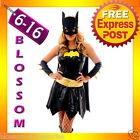 F76 Batgirl Super Hero Superhero Ladies Fancy Dress Costume Outfit Cape & Mask