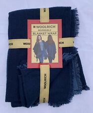 Woolrich Women's Reversible Blanket Wrap 2 Looks in 1 Tonal Blue Stripe One Size