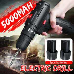 Cordless Electric Drill Screwdriver Power Driver with 5000mAh Battery Too