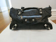 BALENCIAGA black giant city bag w/silver hardwear