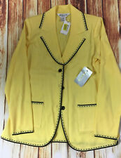 NWT EXCLUSIVELY MISOOK Yellow Black Trim Button Jacket Shell Size XS Petite $352
