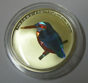 2004 Congo Large Silver Color Hologram Proof 10 fr Kingfisher Bird