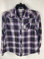 Cumberland Outfitters Women's Long Sleeve Pearl Snap Plaid Western Top Size: XL