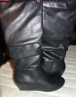 Abound boots Black  Knee High wedge Boot, Size 9 new