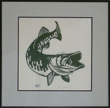 REEL IN MUSKY FISHING FRAMED WOODCUT ART PRINT HAND SIGNED AND NUMBERED COA!