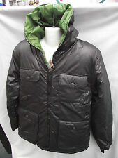 BNWT Mens Sz Small Rivers Brown Padded Lined Puffer Zip Jacket Coat With Hood