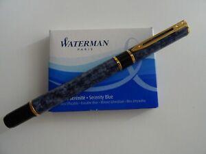 Watermann Füller, bau marmoriert, bebraucht, inkl. Tintenpatronen
