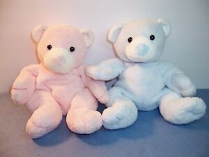 TY BABY  PLUFFIES - PUTTER & TINKER PINK /BLUE BEAR / WHITE NOSE & EARS 2003 VGC