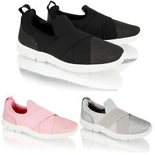 Womens Ladies Slip on Trainers Glitter Sports Walk Go Light Weight Comfort Shoes