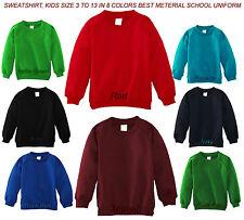 Boys Girls Kids Children School Uniform Plain Lined Sweatshirt Jumper Pull Over